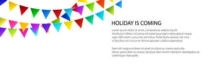 Banner of festive background, holiday colorful bunting flags on white background , vector illustration Vecteurs
