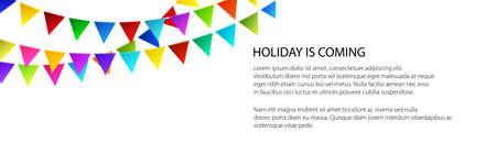 Banner of festive background, holiday colorful bunting flags on white background , vector illustration Vektoros illusztráció