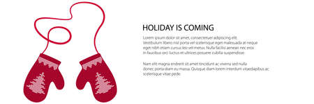 Holiday banner, red winter warm wittens with fir tree pattern and rope, childrens knitted gloves , vector illustration