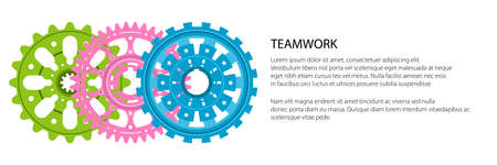 Set of colorful gear wheels or cogs, technology and industry banner, teamwork concept, vector illustration Vecteurs