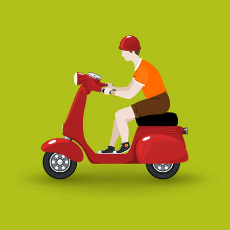 Young guy rides a scooter, red vintage scooter with man isolated on green background, vector illustration Illustration