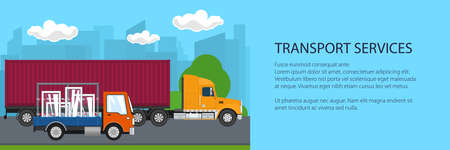 Road transport and logistics banner, truck and small lorry with windows drive on the road on the background of the city, transport services, vector illustration