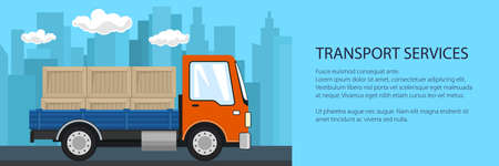 Small truck with boxes on the background of the city, transport services and logistics banner, shipping and freight of goods, vector illustration