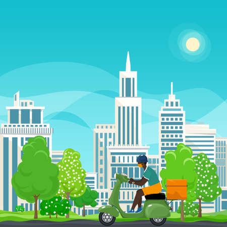 Young african guy in protective face mask with thermal bag for food delivery rides a green scooter on a spring background of green trees and cities,online delivery service and stay home concept