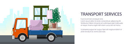 Freight truck is transporting furniture on the background of the city, banner of transport services and logistics, vector illustration