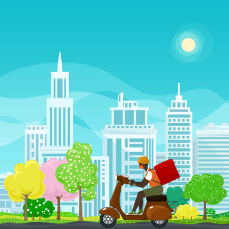 Young african guy in protective face mask with box for food delivery rides a brown scooter on a spring background of colorful trees and cities,online delivery service and stay home concept,vector