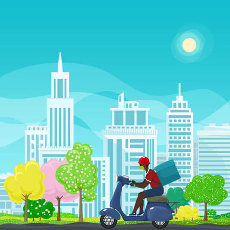 Young african guy in protective face mask with box for food delivery rides a blue scooter on a spring background of colorful trees and cities,online delivery service and stay home concept,vector