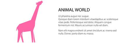 Pink giraffe banner, animal world concept, vector illustration