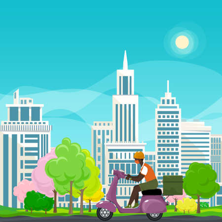 Young african guy in protective face mask with thermal bag for food delivery rides a purple scooter on a spring background of colorful trees and cities,online delivery service and stay home concept