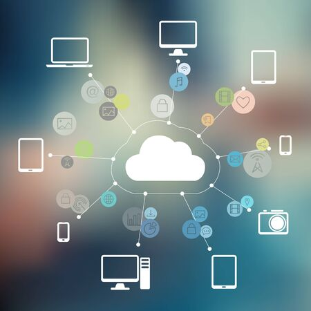 Cloud Connected with Devices and Media on Blurred Background