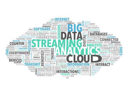 Big Data Steaming Analytics Tag Cloud Stok Fotoğraf - 56584577