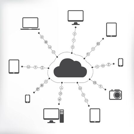 Cloud Connected with Devices and Media 矢量图像