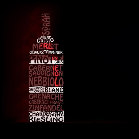 種類の赤と白のワイン  イラスト・ベクター素材