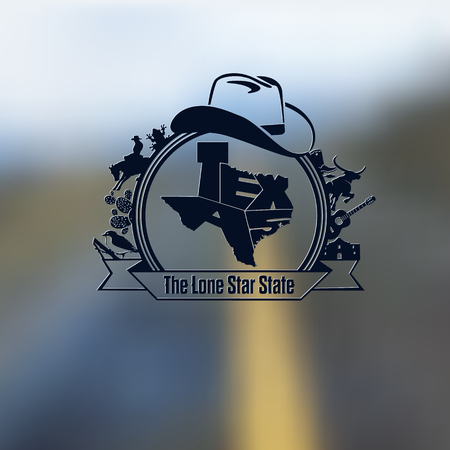 Texas State Map Lettering & Symbols Black Composition On Blurred Background Vettoriali