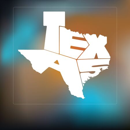 austin: Texas State Map Lettering Composition On Blurred Background