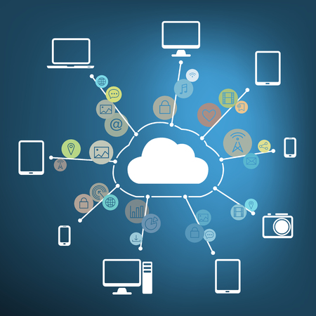 Cloud Connected with Devices and Media on Blue Background