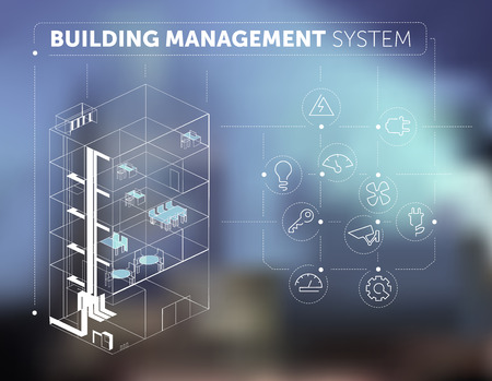 logo batiment: Concept Building Management System sur fond flou Illustration