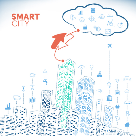 Smart City Concept on White Background