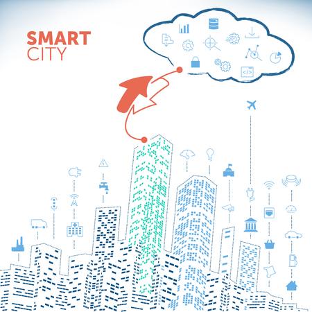 Smart City concept op witte achtergrond