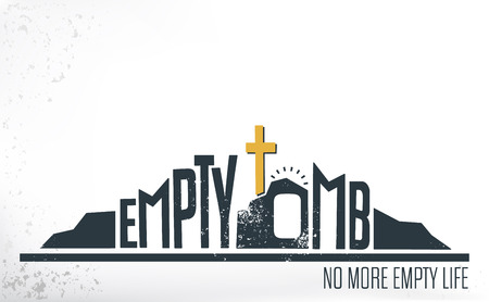 tomb empty: Empty Tomb - No More Empty Life Concept with wallstone texture on White Background Illustration