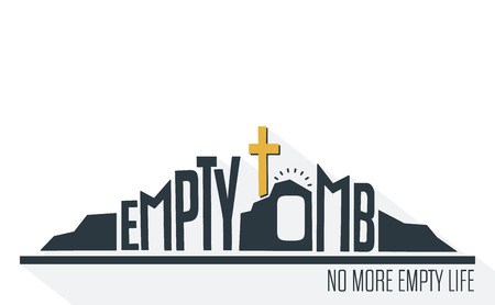 Empty Tomb - No More Empty Life Concept with long shadow on White Background