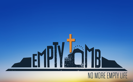 Empty Tomb - No More Empty Life Concept on Blurred Background