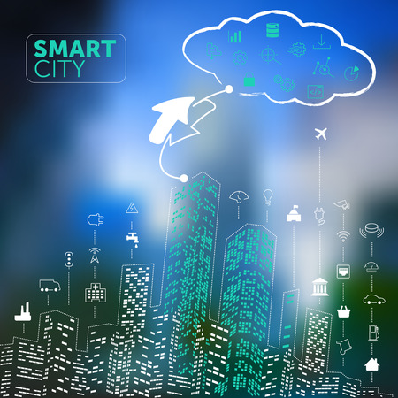 wireless communication: Smart City Concept on Blurred Background