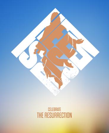 risen: Easter. He Is Risen. Celebrate the Resurrection. Vector Illustration on Blurred Background