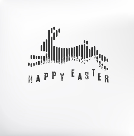Happy Easter. Running / Jumping Bunny / Rabbit in Black Lines Style on White Background