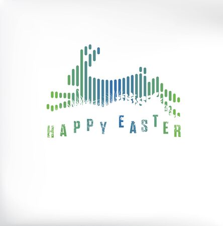 Happy Easter. Running / Jumping Bunny / Rabbit in Green & Blue Lines Style on White Background 矢量图像
