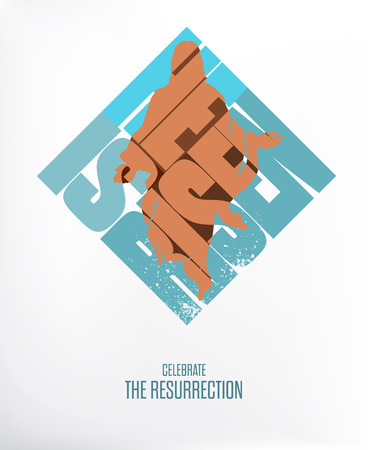 risen: Easter. He Is Risen. Celebrate the Resurrection. Vector Illustration on White  Gray Background