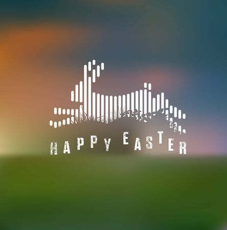 Happy Easter. Running / Jumping Bunny / Rabbit in White Lines Style on Blurred Background 矢量图像