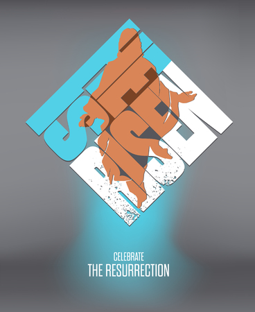 he: Easter. He Is Risen. Celebrate the Resurrection. Vector Illustration on Dark Background