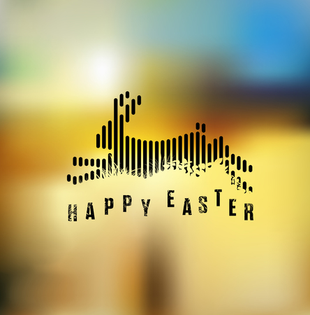 Happy Easter. Running / Jumping Bunny / Rabbit in Black Lines Style on Blurred Background