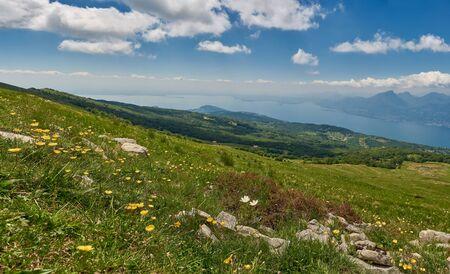 Landscape view from Mount Baldo in Veneto, Italy, lake Garda