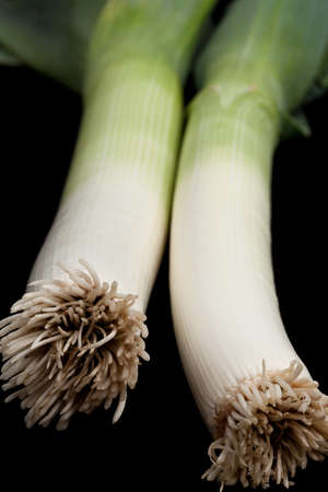leeks: Fresh leeks on a black background.