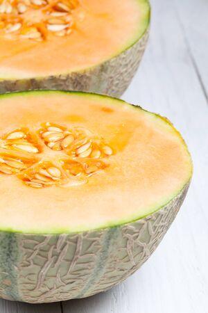 cantaloupe: Halved cantaloupe melon. Stock Photo