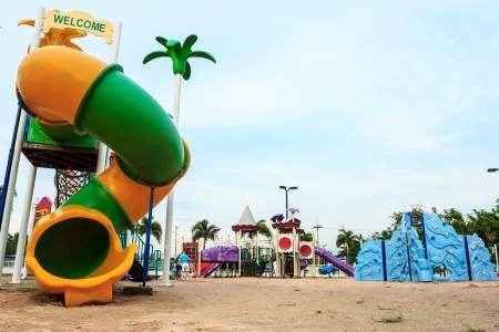 Image of Playground equipment placed on sand photo