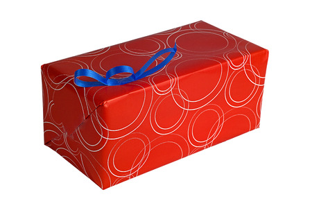 Single red gift box with blue  ribbon on white background photo