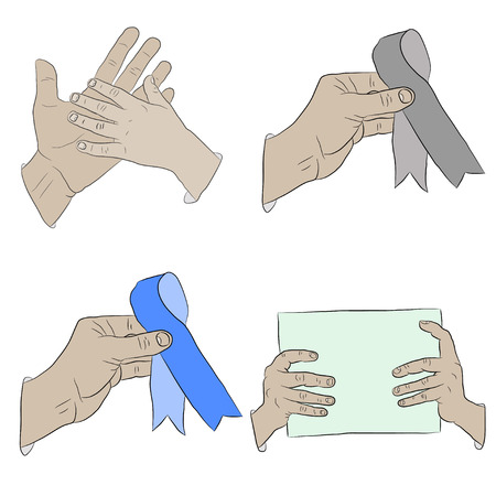 Hand gestures realistic art icon set. Isolated vector illustration of human hands Illustration