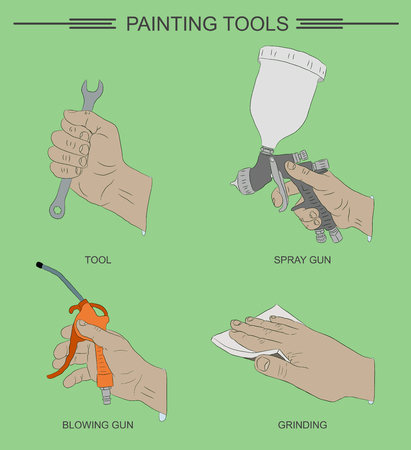 Painting tools. Painting operation with hands. Vector illustrations