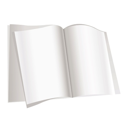 article writing: Magazine pages on white background.