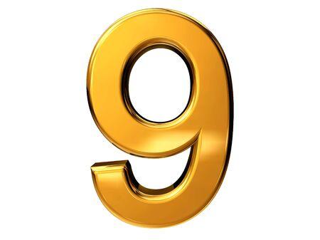 Gold number nine isolated on white background Stock Photo