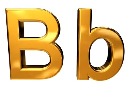 Gold letter B upper case and lower case isolated on white background