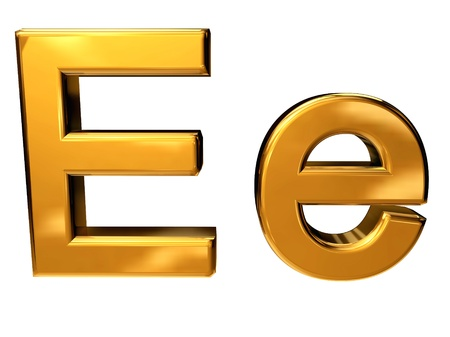 Gold letter E upper case and lower case isolated on white background