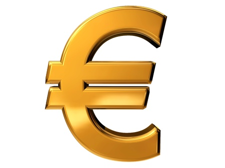 Gold euro sign isolated on white Stock Photo