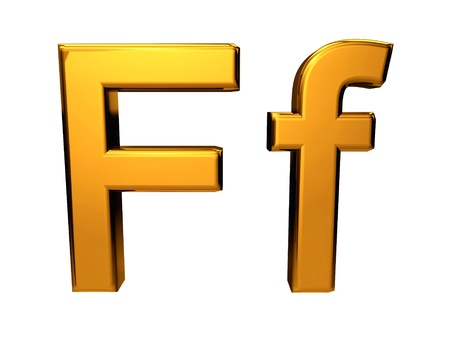 Gold letter F upper case and lower case isolated on white background