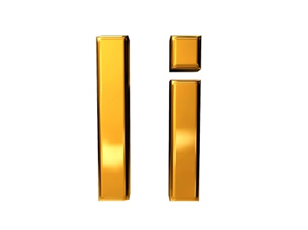 Gold letter I upper case and lower case isolated on white background Stock Photo
