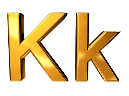 Gold letter K upper case and lower case isolated on white background photo