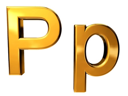 Gold letter P upper case and lower case isolated on white background Stock Photo